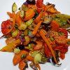 Geroosterde groenten en zoete aardappel uit de oven