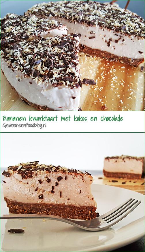 Gezonde bananen kwarktaart met kokos en chocolade | Gewooneenfoodblog.nl