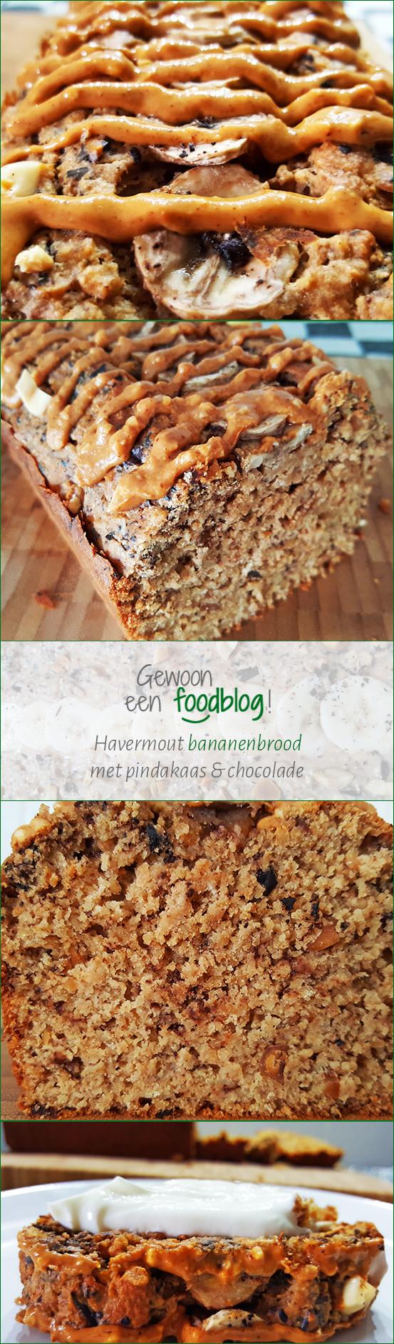 Havermout Bananenbrood met Pindakaas en Chocolade   Pinterest   Gewooneenfoodblog.nl