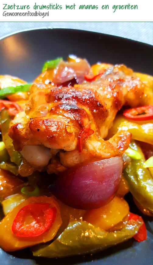 Zoetzure drumsticks met groenten en ananas uit de oven | Gewoon Een Foodblog!