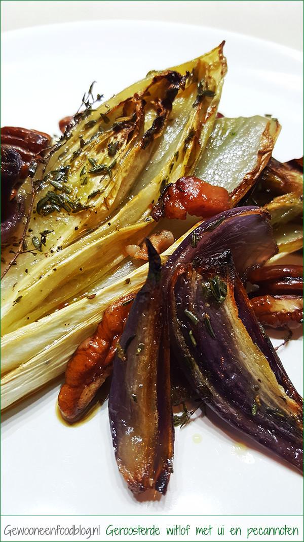 Geroosterde witlof met rode ui, pecannoten en bacon | Gewoon een foodblog!
