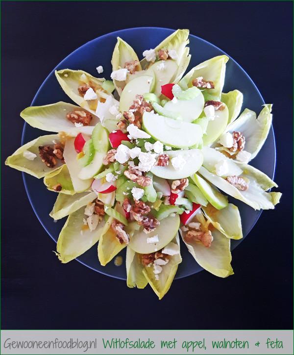 Witlofsalade met appel, walnoten en feta | Gewooneenfoodblog.nl
