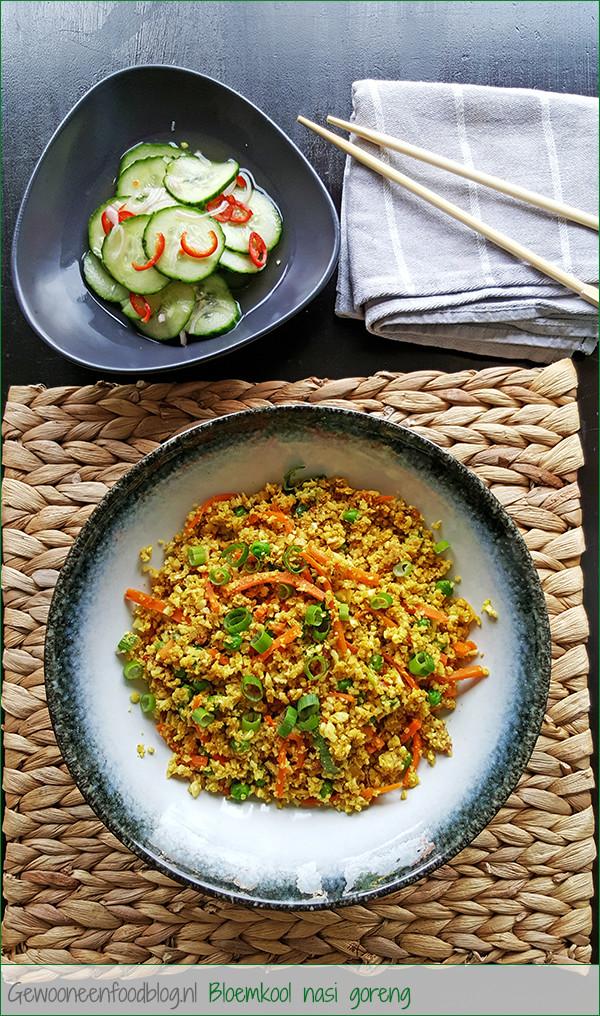 Bloemkool nasi goreng met zoetzure komkommer | Gewooneenfoodblog.nl