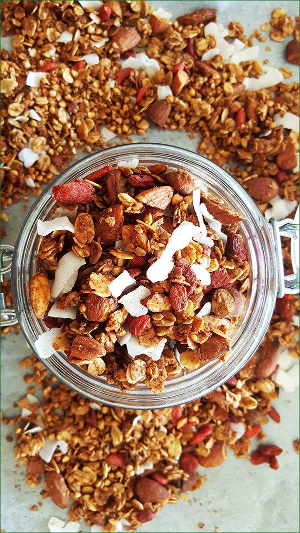 Boekweit granola met goji bessen en kokos bewaren   Gewoon een foodblog!
