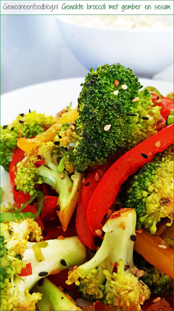 Broccoli uit de wok met gember en sesamzaad | Gewooneenfoodblog.nl