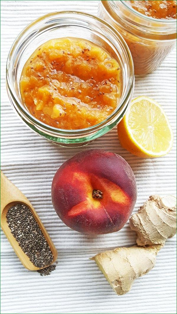 Ingrediënten perzikenspread met gember en chiazaad | Gewoon een foodblog!