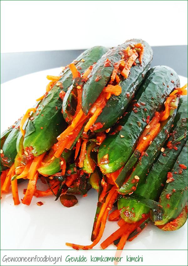 Gevulde komkommer kimchi (Oi-Sobagi) | Gewooneenfoodblog.nl