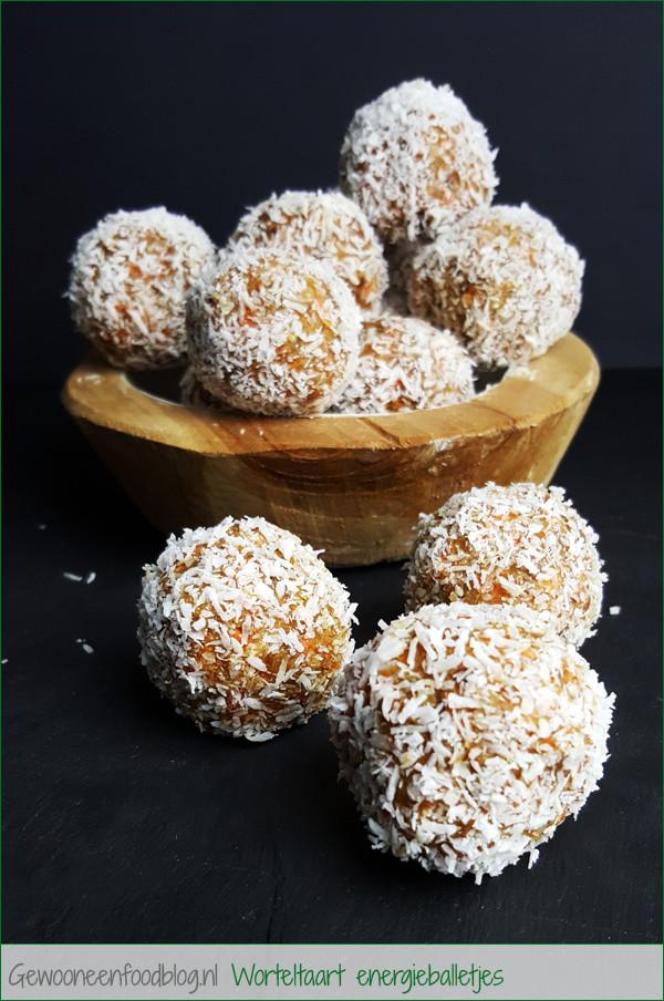 Worteltaart energieballetjes (Carrot Cake Bliss Balls) | Gewooneenfoodblog.nl