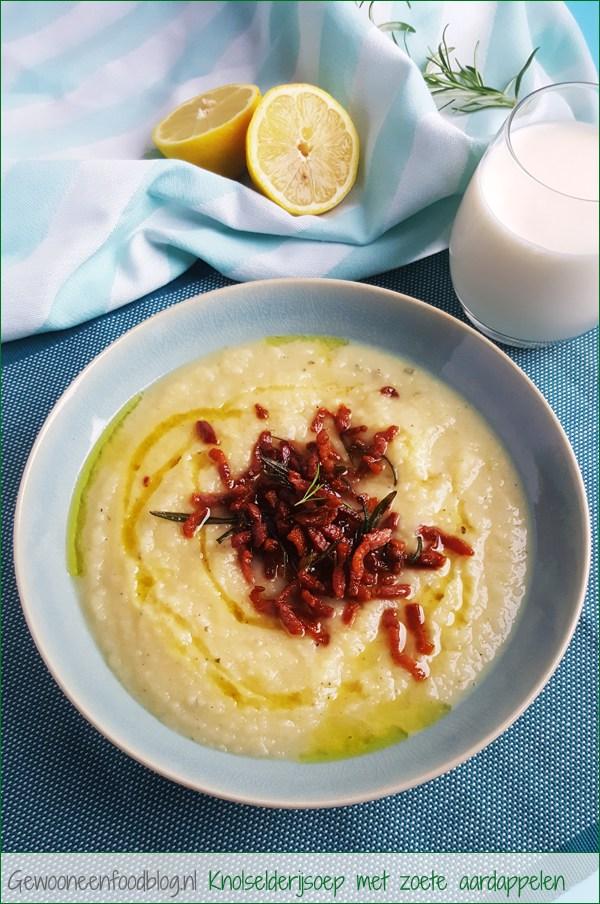 Knolselderijsoep met zoete aardappelen, rozemarijn en bacon | Gewooneenfoodblog.nl