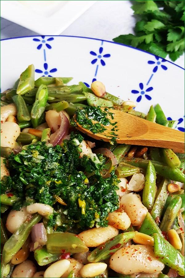 Snijbonen met cannellini bonen, gremolata en pijnboompitten | Gewoon een foodblog!