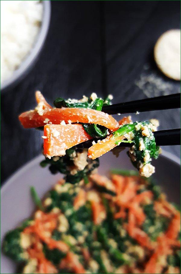 Shira-ae met spinazie en wortelen | Gewoon een foodblog!