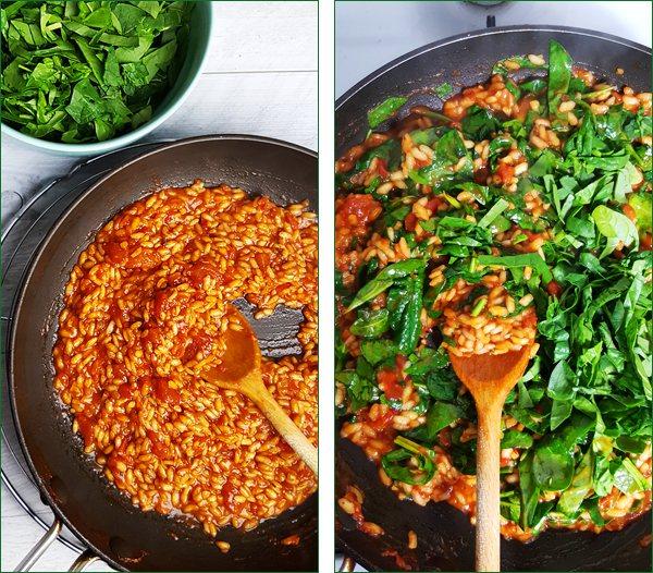 Tomaten risotto met spinazie maken | Gewooneenfoodblog.nl