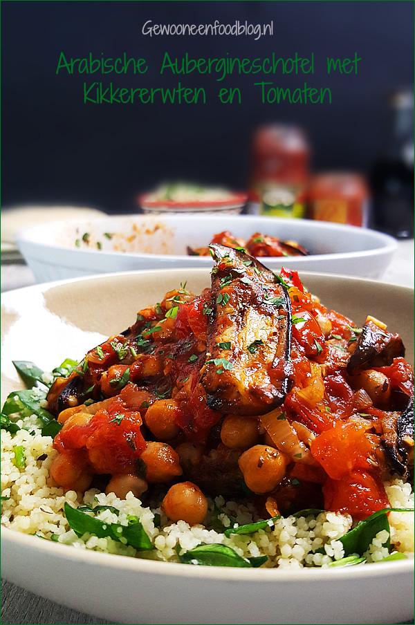 Aubergineschotel uit het Midden-Oosten met kikkererwten | Gewoon een foodblog!