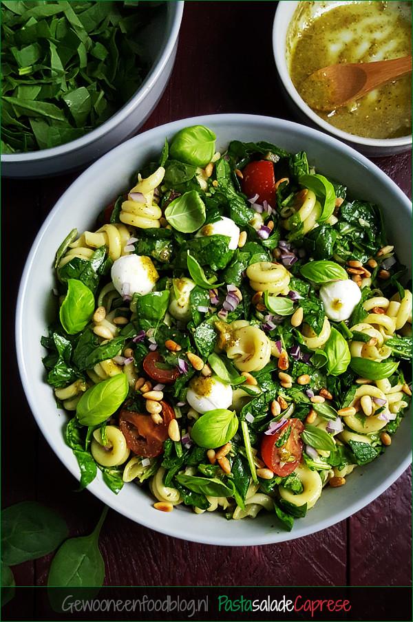 Pastasalade caprese met spinazie, pesto en pijnboompitten | Gewooneenfoodblog.nl