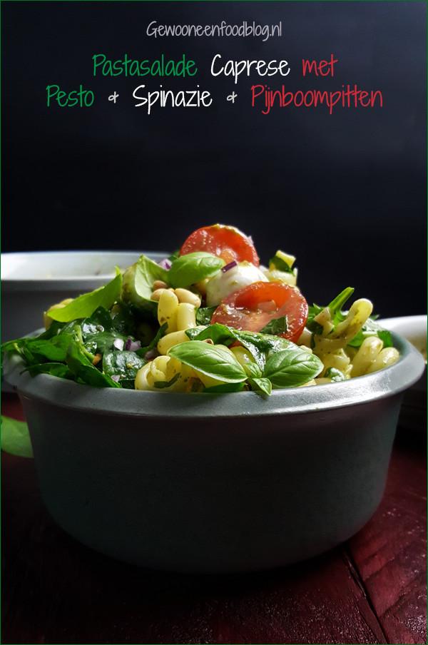 Pastasalade caprese met spinazie, pesto en pijnboompitten | Gewoon een foodblog!