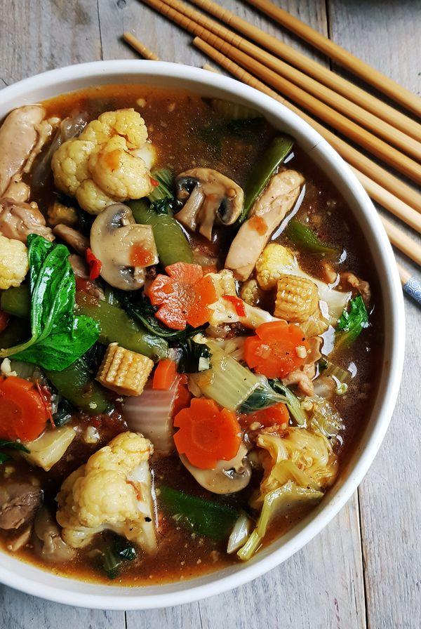 Indonesische gemenge groenten met kip | Gewooneenfoodblog.nl