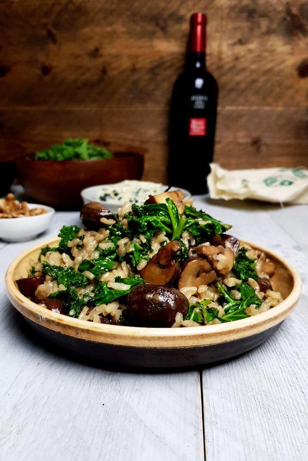 Boerenkoolrisotto met champignons en blauwe kaas | Gewooneenfoodblog.nl