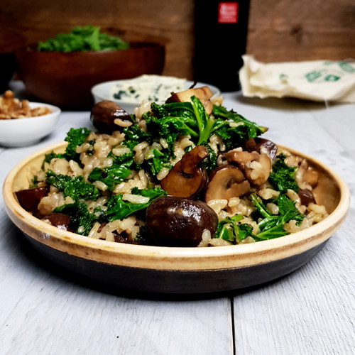 Boerenkoolrisotto met champignons en blauwe kaas