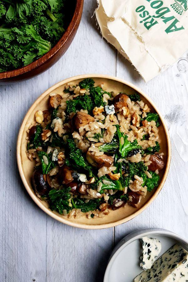 Risotto met boerenkool, champignons en blauwe kaas | Gewooneenfoodblog.nl