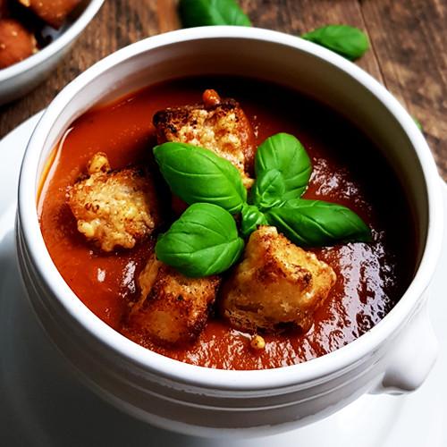 Geroosterde-tomatensoep met basilicum en kaascroutons | Gewooneenfoodblog.nl