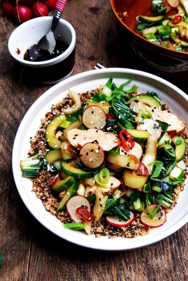 Recept quinoasalade met paksoi, kip en komkommer | Gewooneenfoodblog.nl