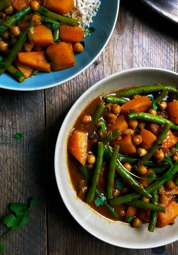 Vegetarische curry met pompoen, sperziebonen en kikkererwten- Gewooneenfoodblog.nl
